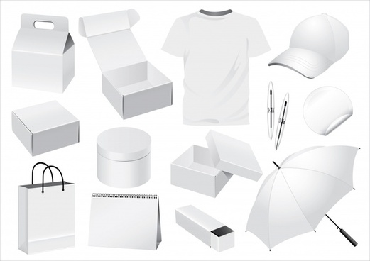 personal utensils icons blank white 3d sketch