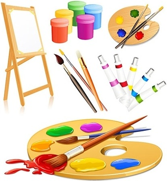 painting toolkit icons realistic colored design