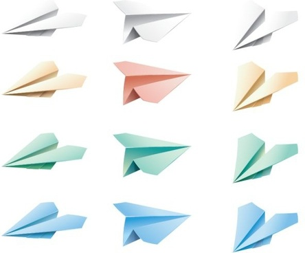 paper airplane icons colored 3d design