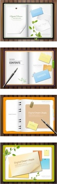 paper note book decorative templates modern colorful design