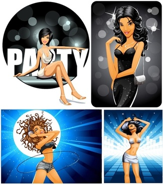 vector party girl