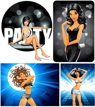 vector party girl