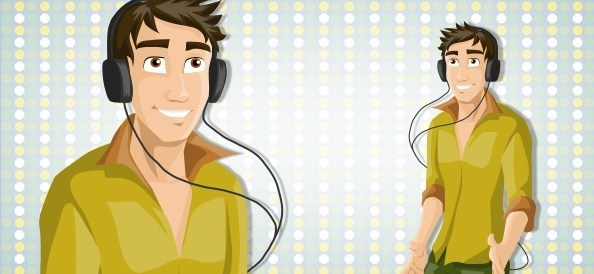 vector party guy with headphones