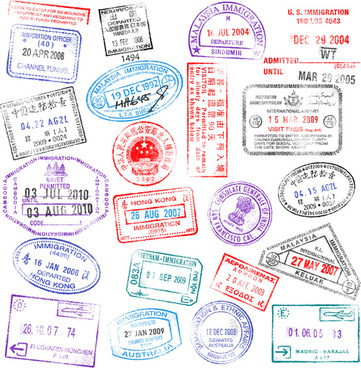 vector passport stamps design set
