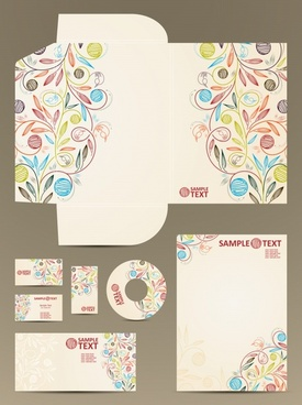 brand identity template colorful handdrawn floral sketch