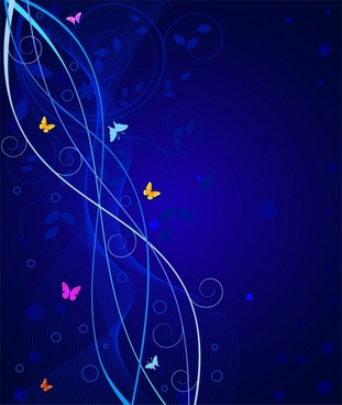 decorative background butterflies curves ornament dark blue design