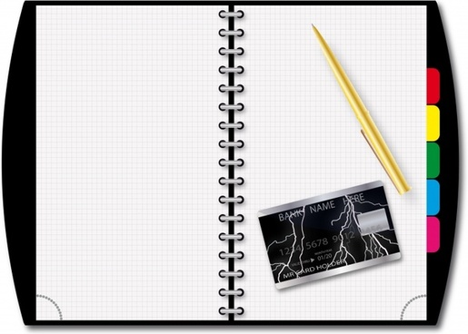 office background notebook pen card icons modern design
