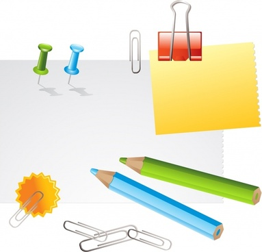 stationery icons 3d colored design