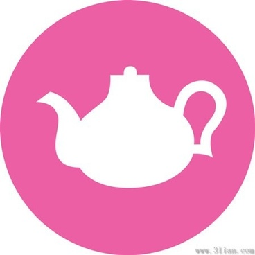 vector pink background teapot icon