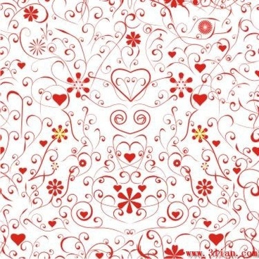 romance background hearts flowers icons red curves ornament