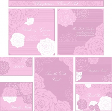 card background templates classic pink roses sketch