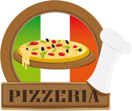 vector pizza elements art set