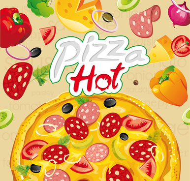 vector pizza hot design poster