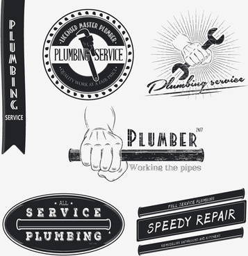 vector plumber service logos with labels design