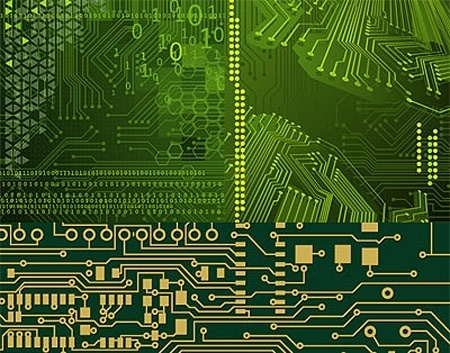 circuit board background template green realistic design