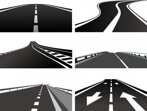 highway icons modern design 3d flat sketch
