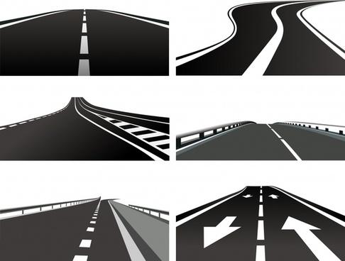 highway icons modern design 3d flat sketch