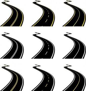 highway icons curves sketch