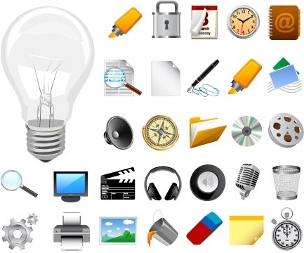 tools and equipment icons realistic design style