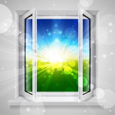 open window background colorful twinkling bokeh 3d design