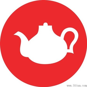 vector red background teapot icon