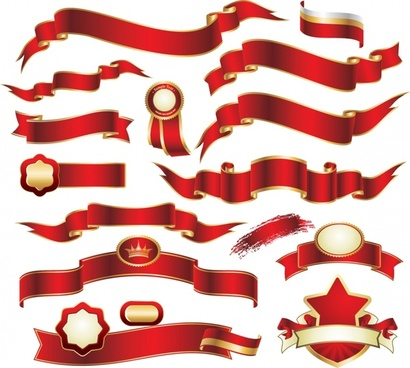 ribbon labels templates elegant 3d red golden decor