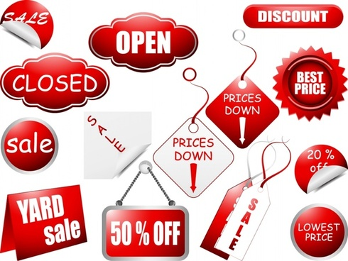 sale tags templates modern shiny red white shapes