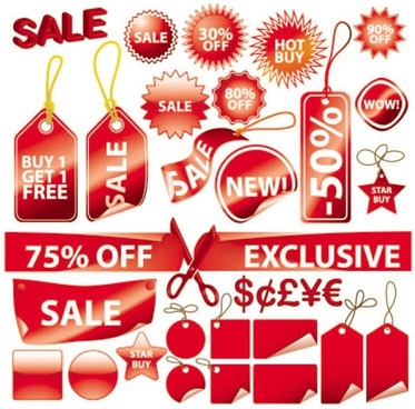 sales tags templates red shiny modern shapes sketch