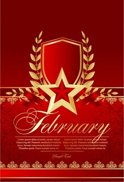 anniversary banner luxury red golden symmetric star wreath