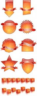 sales label templates modern shiny orange design