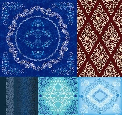 classical floral pattern sets various seamless types