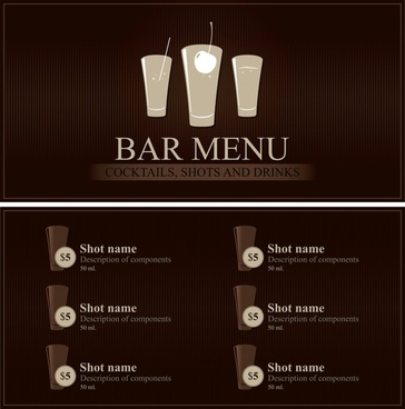 beverage menu template elegant dark brown decor