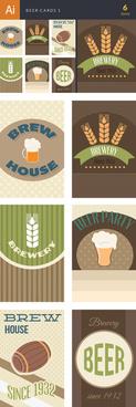 vector retro beer cards set