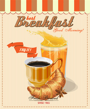 vector retro breakfast poster design graphic