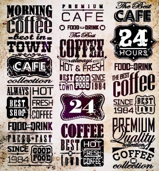 vector retro coffee labels set