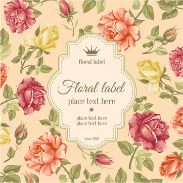 vector retro flower card graphic