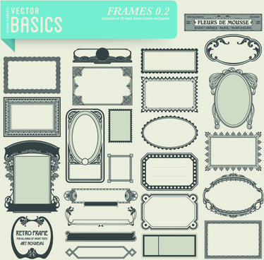 vector retro frames design graphics set