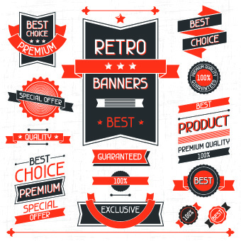 vector retro stickers and labels set