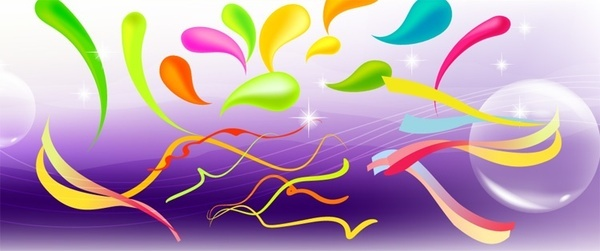 bright spakling background colorful swirled ribbon decoration