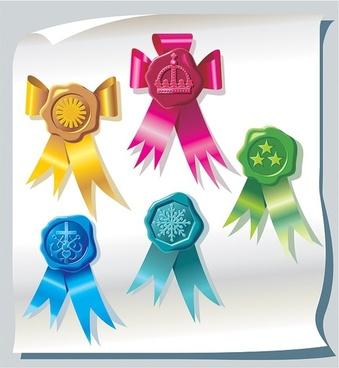 vector ribbon badges
