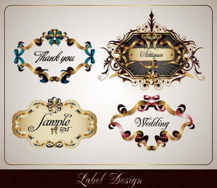 decorative label templates luxury elegant european symmetric design