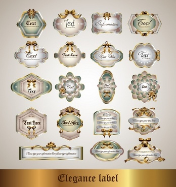 decorative labels templates shiny colored luxury european decor
