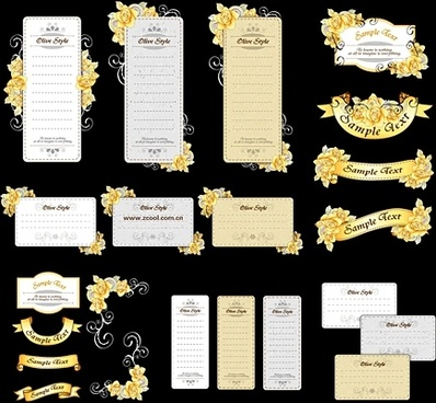 cards design elements elegant yellow flowers ribbons style