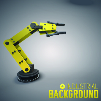 vector robotic arm industrial background set