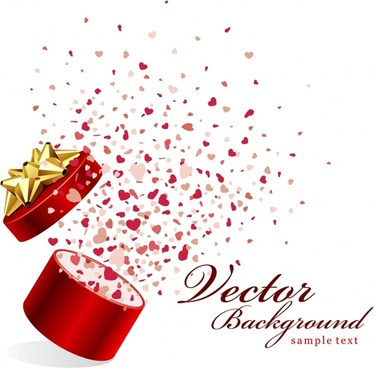 vector romantic gift opening moments