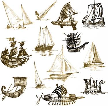 vector sailing vessels set