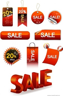 vector sale discount tag button