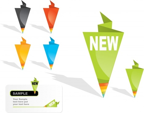 sale labels templates colored modern origami 3d