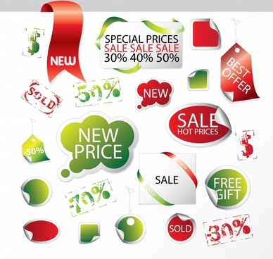sale tags templates shiny colorful modern paper cut