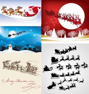 christmas background templates santa reindeer sleigh icons decor